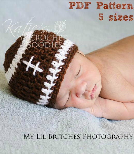 Crochet Pattern Baby Hat Free : Free Football Hat Pattern - Katies Crochet Goodies