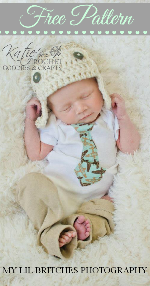 Crochet Newborn Aviator Hat Pattern : Free Aviator Crochet Hat Pattern - Katies Crochet Goodies