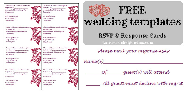 free wedding templates rsvp reception cards katie s crochet goodies